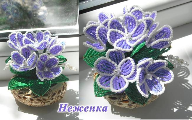 Купить цветы из бисера неженка